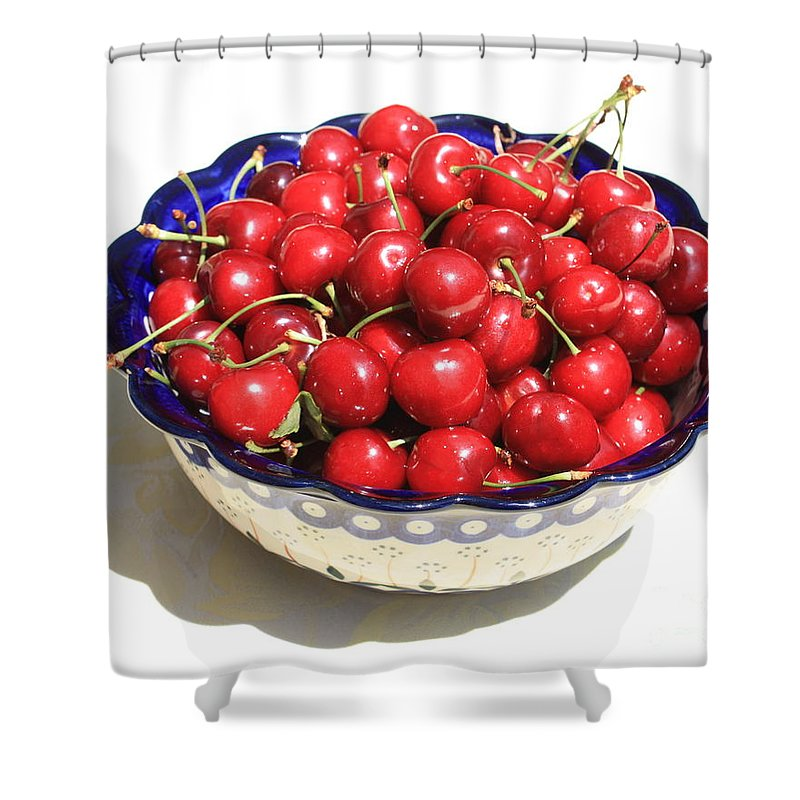 Cherries Shower Curtain featuring the photograph Simply A Bowl Of Cherries by Carol Groenen