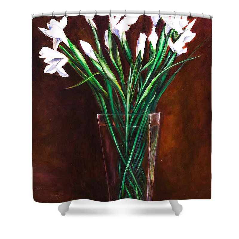 Iris Shower Curtain featuring the painting Simply Iris by Shannon Grissom