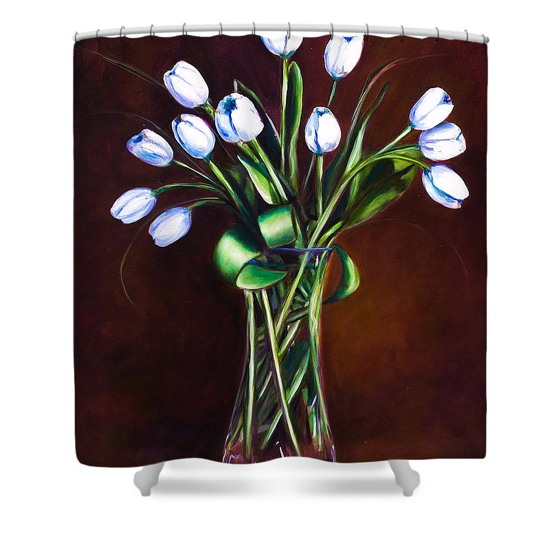 Shannon Grissom Shower Curtain featuring the painting Simply Tulips by Shannon Grissom