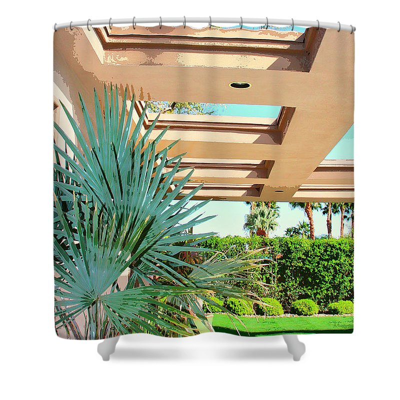 Sinatra House Shower Curtain featuring the photograph Sinatra Patio Palm Springs by William Dey