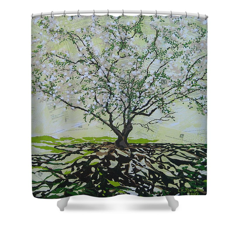 Apple Tree Shower Curtain featuring the painting Sincerely-the Curator by Leah Tomaino