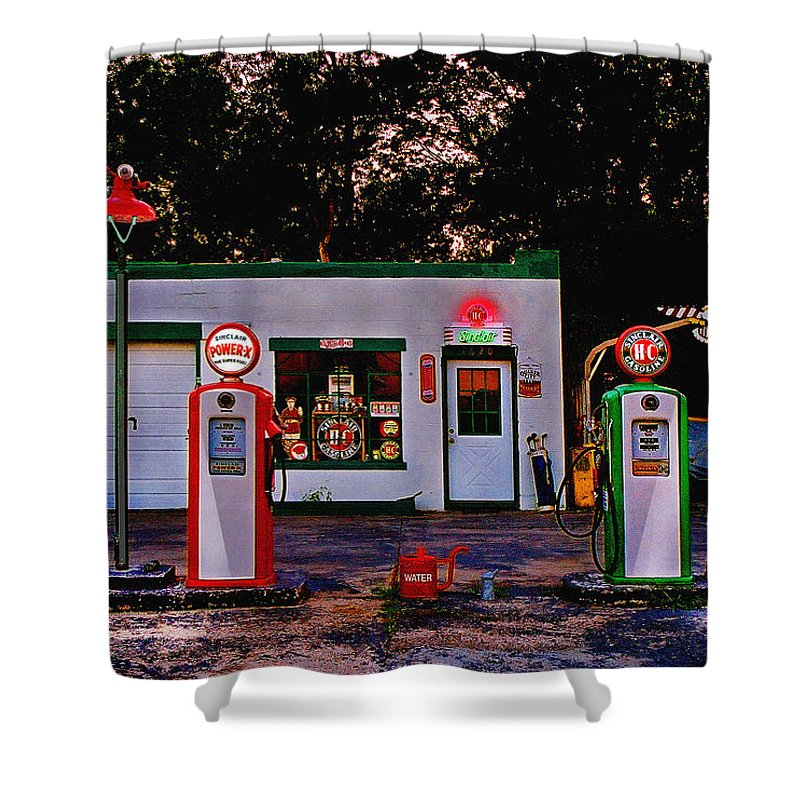 Gas Station Shower Curtain featuring the photograph Sinclair by Steve Karol