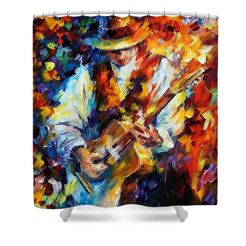 Afremov Shower Curtain featuring the painting Sing My Guitar by Leonid Afremov