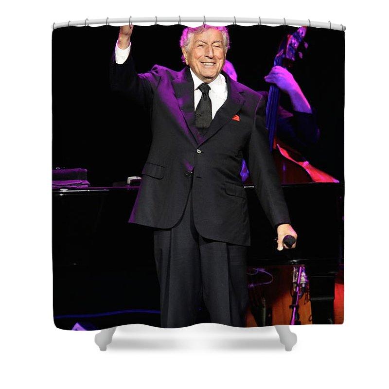 Tony Bennett Shower Curtain featuring the photograph Singer Tony Bennett by Concert Photos
