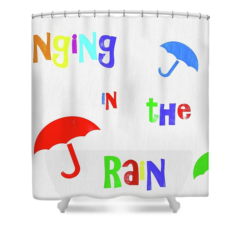 Singing In The Rain Shower Curtain Featuring Painting By Dan Sproul