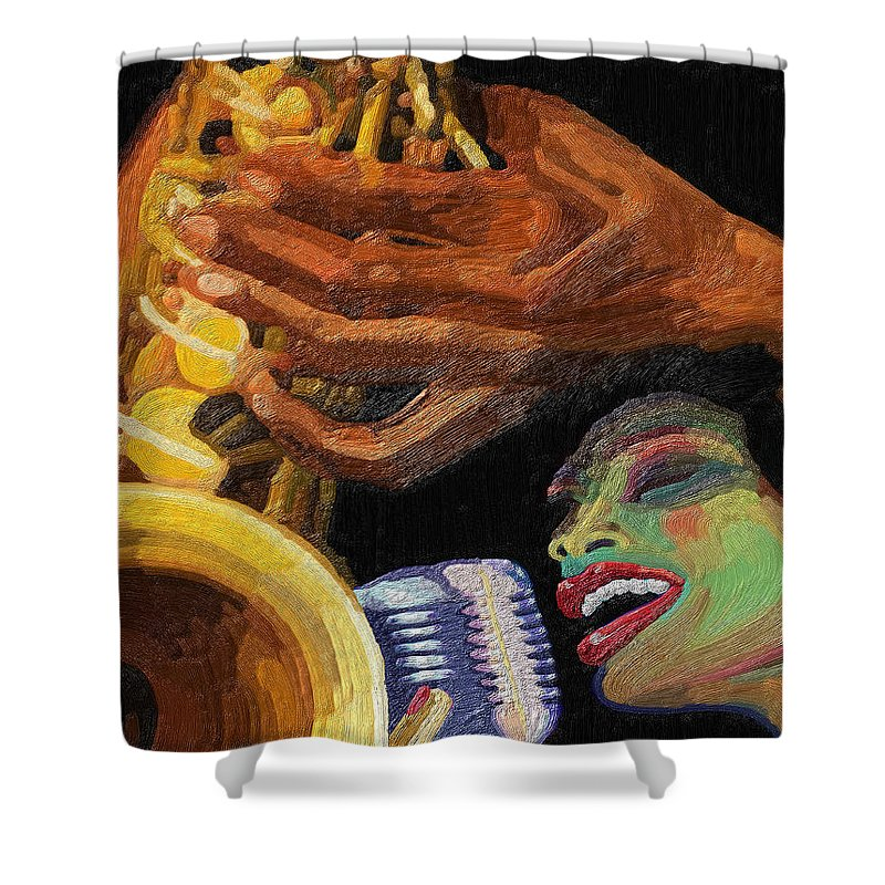 Music Shower Curtain featuring the painting Singing The Blues by James Mingo