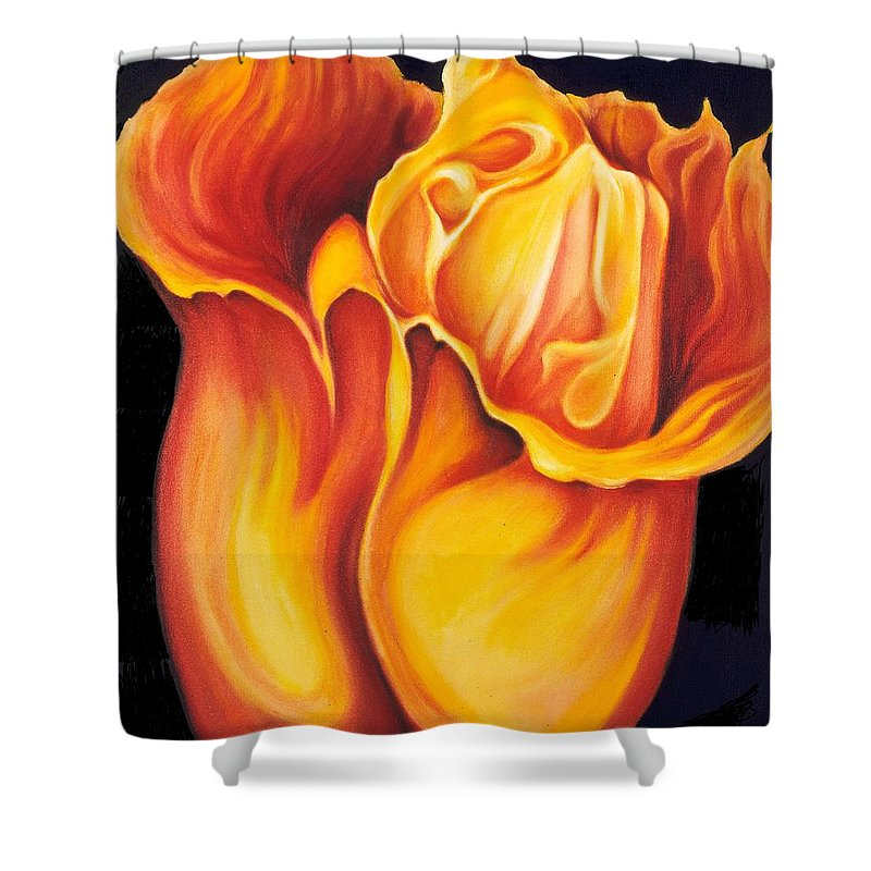 Surreal Tulip Shower Curtain featuring the painting Singing Tulip by Jordana Sands