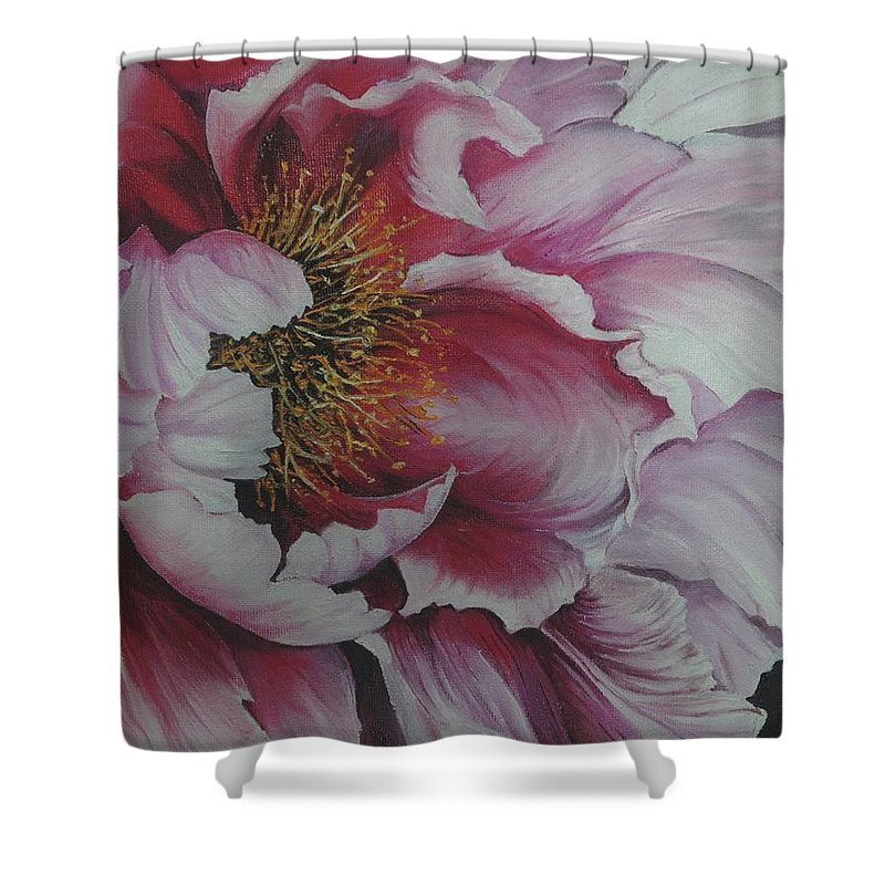 Pink Peony Shower Curtain featuring the painting Single Peony by Karin Dawn Kelshall- Best