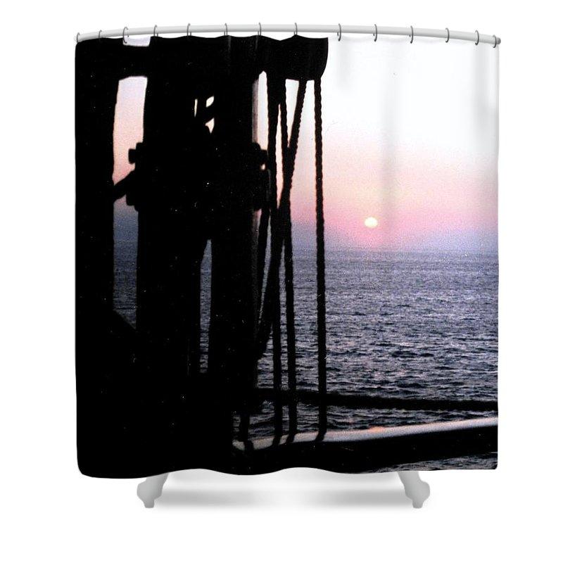 Ship Shower Curtain featuring the photograph Sinking Sun by Ian MacDonald