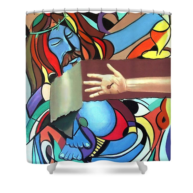 Sins Of The World Framed Prints Shower Curtain featuring the painting Sins Of The World by Anthony Falbo