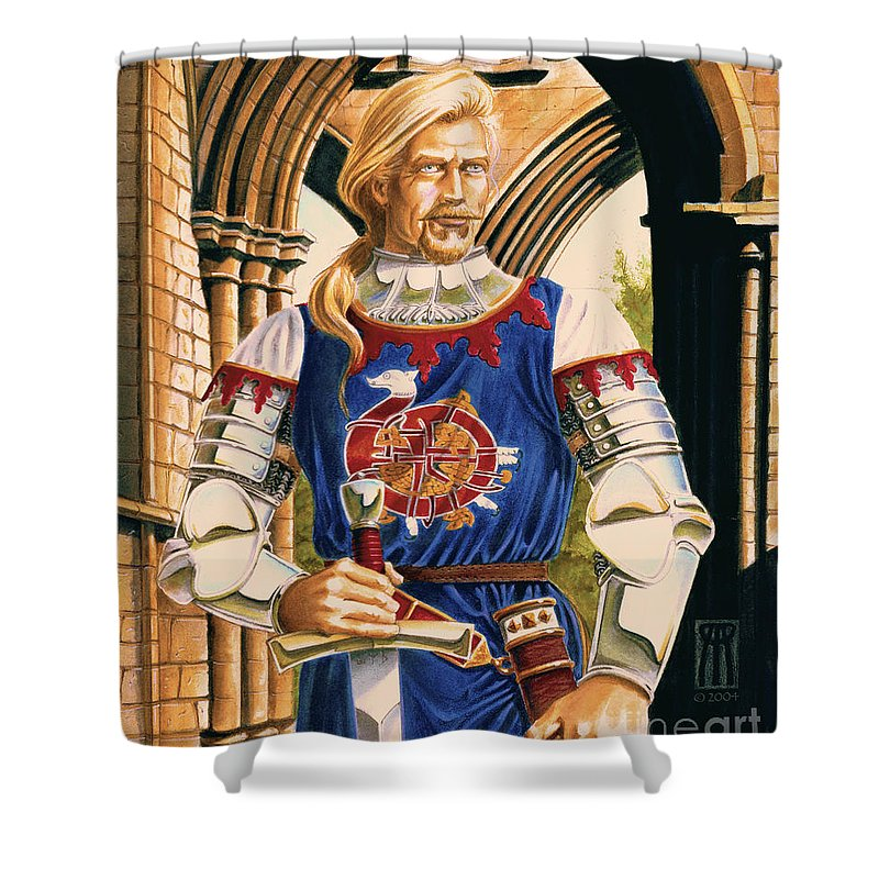 Swords Shower Curtain featuring the painting Sir Dinadan by Melissa A Benson