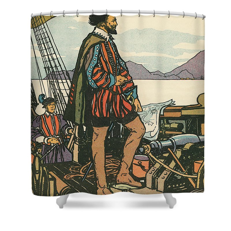 Francis Drake Shower Curtain Featuring The Painting Sir On His Ship By American School