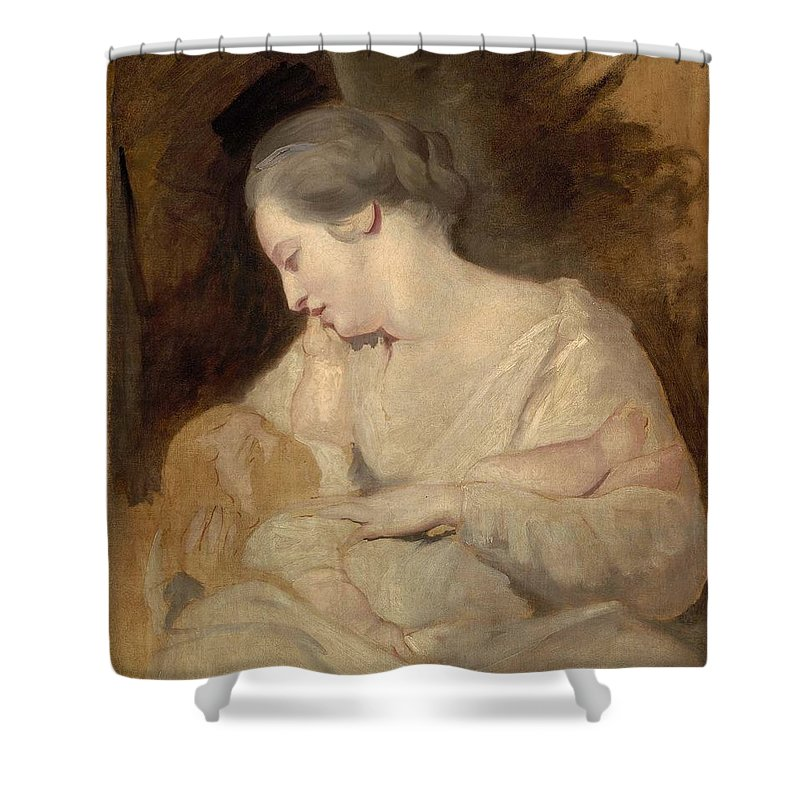 Mrs. Richard Hoare Holding Her Child Shower Curtain featuring the painting Sir Joshua Reynold by MotionAge Designs