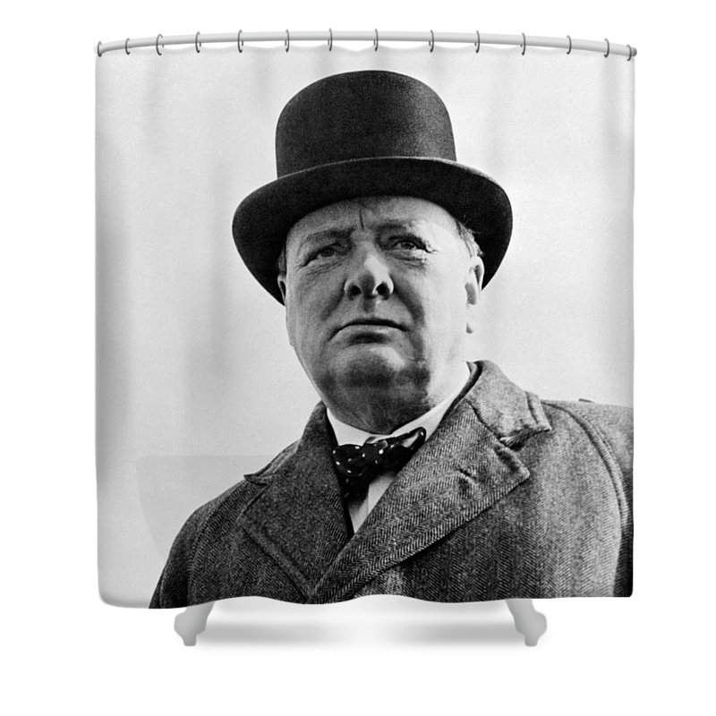 Wwii Shower Curtain featuring the photograph Sir Winston Churchill by War Is Hell Store