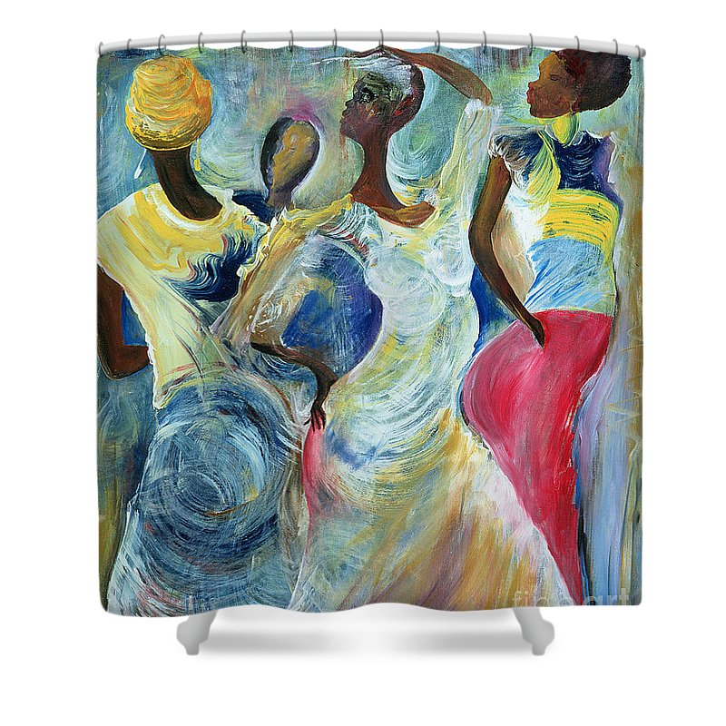 African Shower Curtain featuring the painting Sister Act by Ikahl Beckford