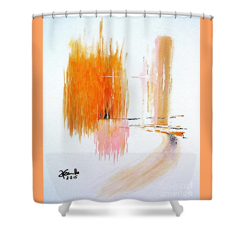 Landscape Shower Curtain featuring the painting Sisters by Andrew Cravello