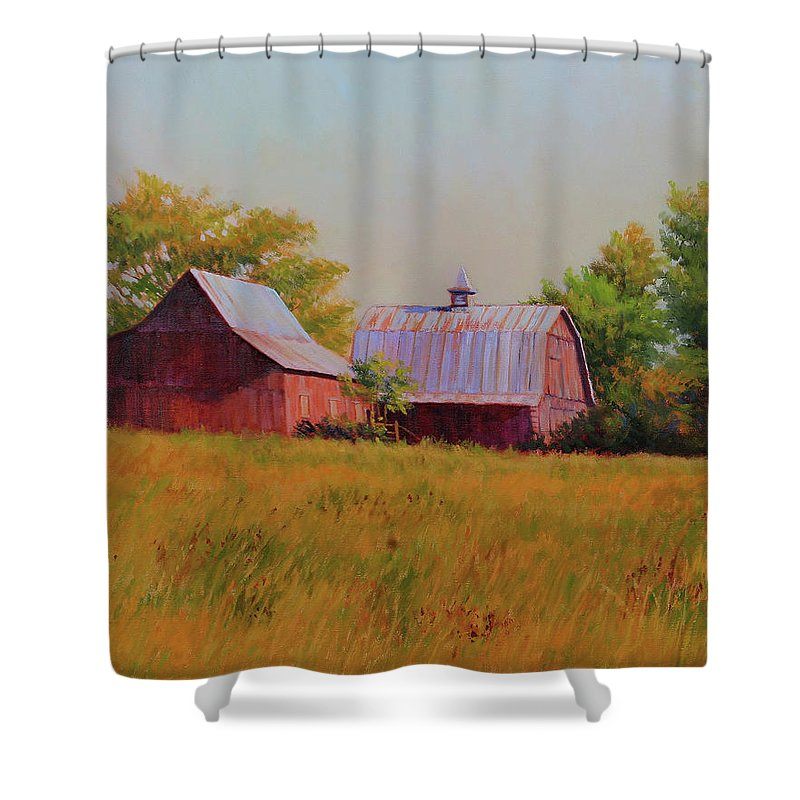 Barns Shower Curtain featuring the painting Sisters by Keith Burgess