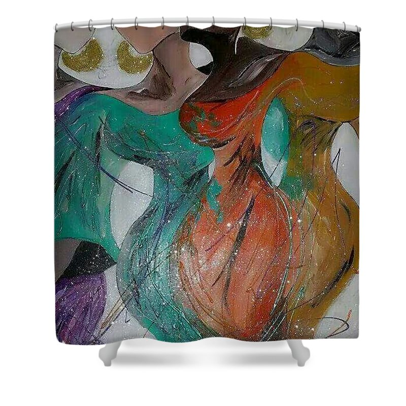 Sisters Shower Curtain featuring the painting Sisters by Leticia Acevedo