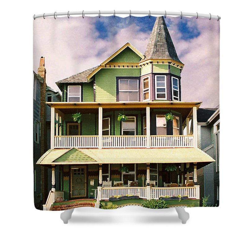 Archtiecture Shower Curtain featuring the photograph Sisters panel 1 of Triptych by Steve Karol