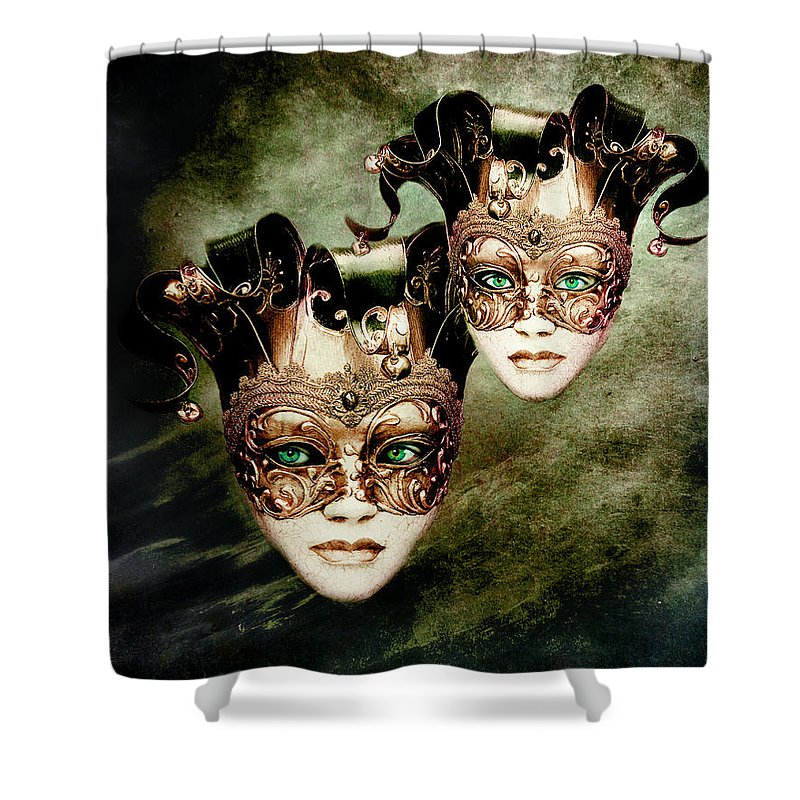 Woman Shower Curtain featuring the digital art Sisters by Jacky Gerritsen