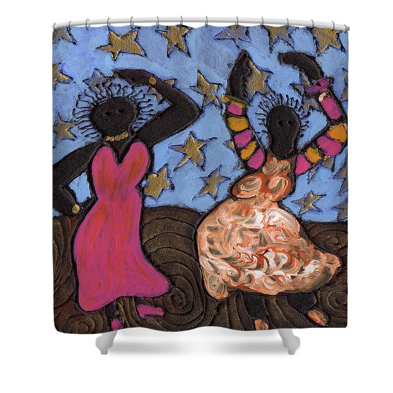 Folk Art Shower Curtain featuring the painting Sisters Sarah Sue And Sally Mae Swinging The Night Away by Wayne Potrafka
