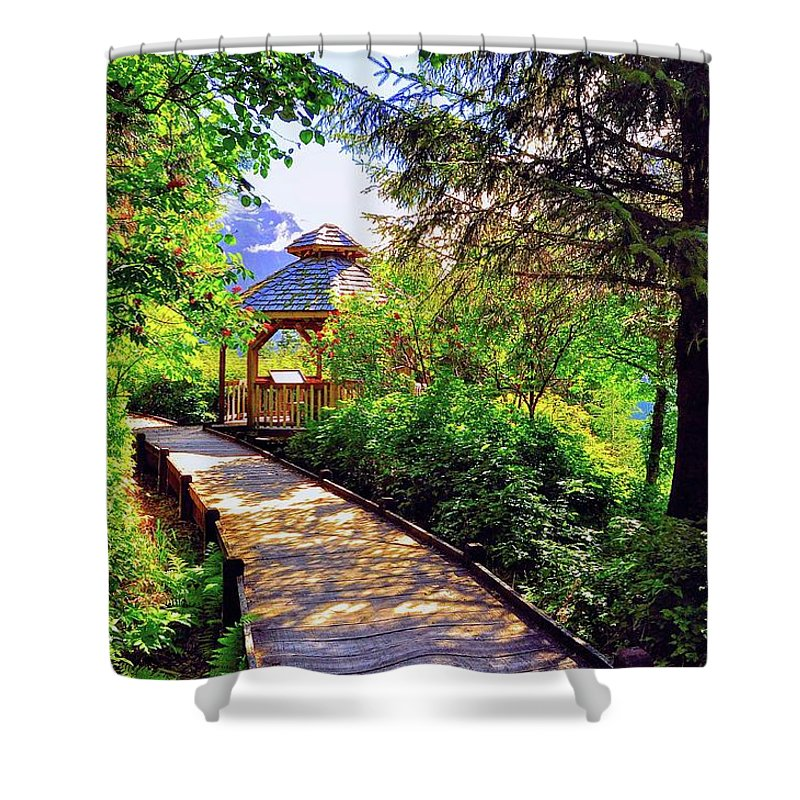 Gazebo Shower Curtain featuring the photograph Morning Stroll by Mark Lemon