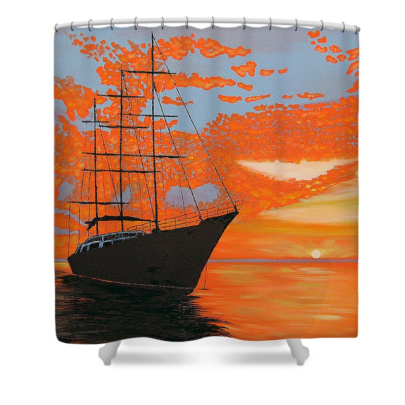 Seascape Shower Curtain featuring the painting Sittin' On The Bay by Marco Morales