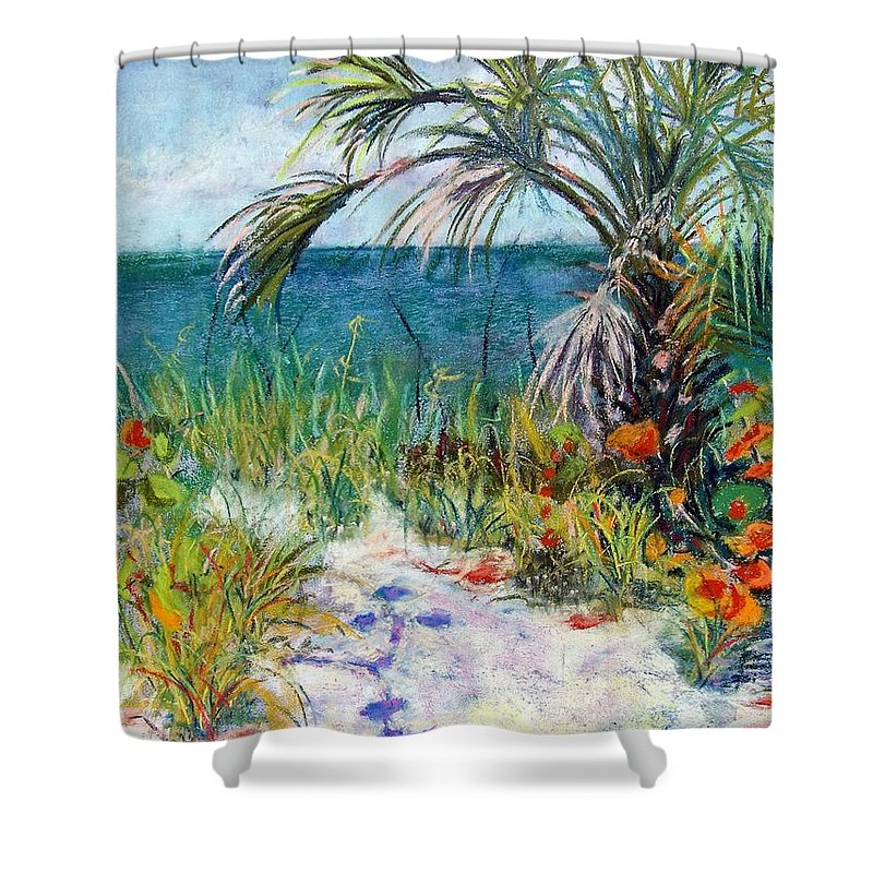 Wiggins Pass Shower Curtain featuring the painting Sitting At Wiggins Pass by Laurie Paci
