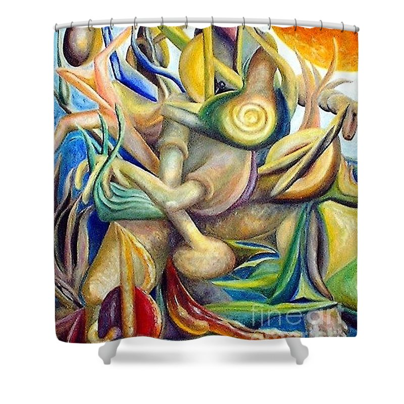 Surrealism Shower Curtain featuring the painting Sitting In Flux by Timothy Michael Foley
