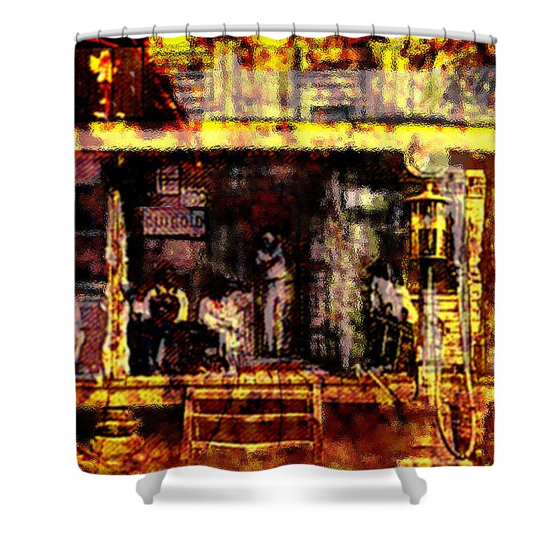 Sitting In The Shade Shower Curtain featuring the digital art Sitting In Shade by Seth Weaver