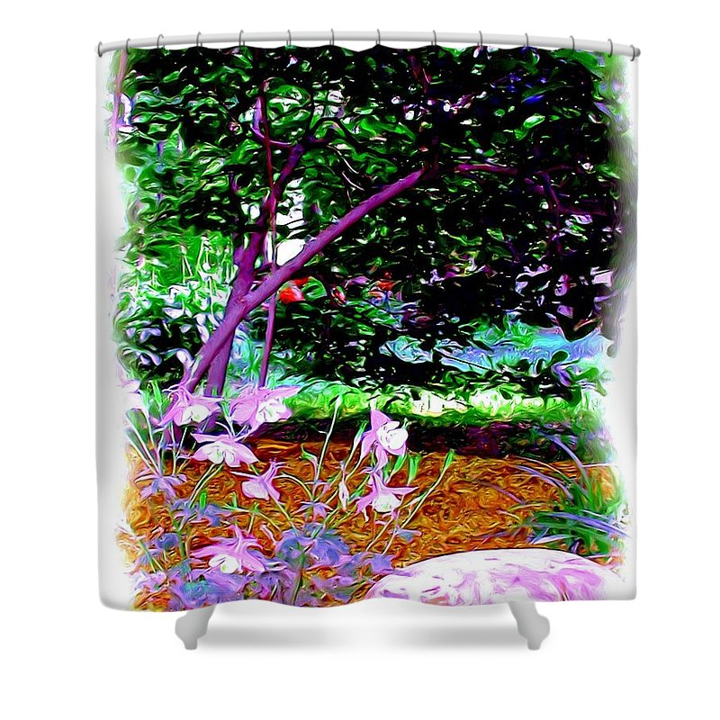 Fine Art Shower Curtain featuring the painting Sitting In The Shade by Patricia Griffin Brett