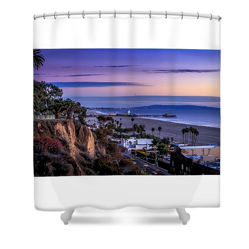 Sunset Santa Monica Pier Shower Curtain featuring the photograph Sitting On The Fence - Santa Monica Pier by Gene Parks