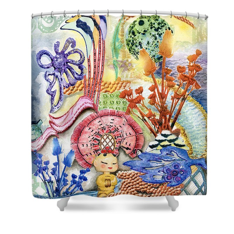 Bright Shower Curtain featuring the painting Sitting Pretty by Valerie Meotti