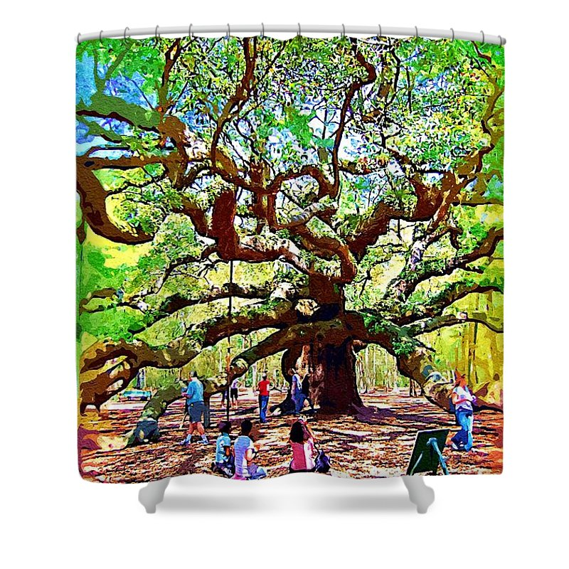 Shower Curtain featuring the photograph Sitting Under The Live Oaks by Donna Bentley