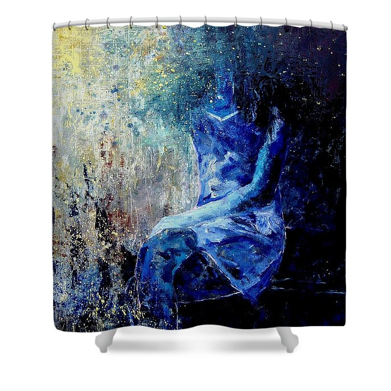 Woman Girl Fashion Shower Curtain featuring the painting Sitting Young Girl by Pol Ledent