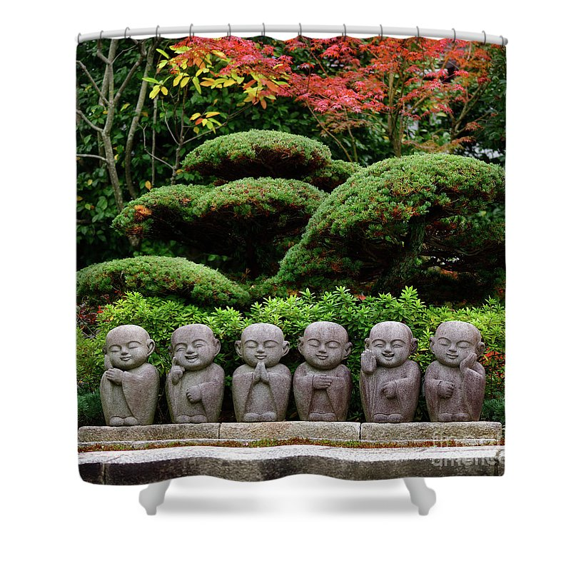 Monks Shower Curtain Featuring The Photograph Six Cute Little Monks Buddha  Stone Statues In Japanese Garden