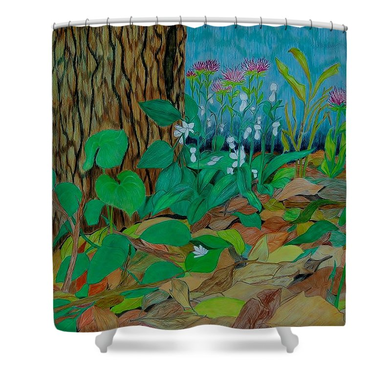 Tree Shower Curtain featuring the mixed media Six in hiding by Charla Van Vlack