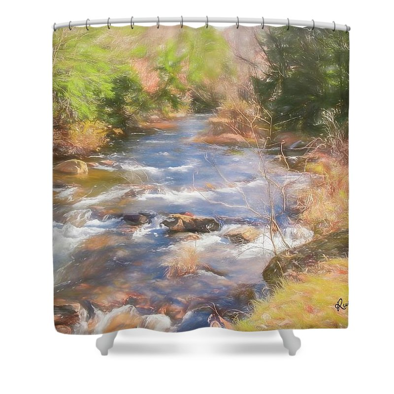 Fall Shower Curtain featuring the digital art Six Mile Run Premier Trout Stream. by Rusty R Smith