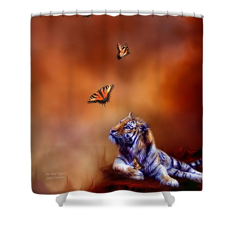 Carol Cavalaris Shower Curtain featuring the mixed media Six Wild Tigers by Carol Cavalaris