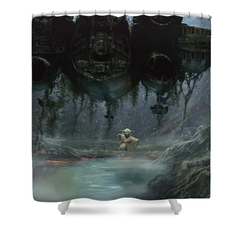 Ryan Barger Shower Curtain featuring the digital art Size Matters Not by Ryan Barger