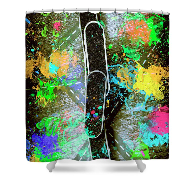 Skateboard Shower Curtain featuring the photograph Skating Pop Art by Jorgo Photography - Wall Art Gallery