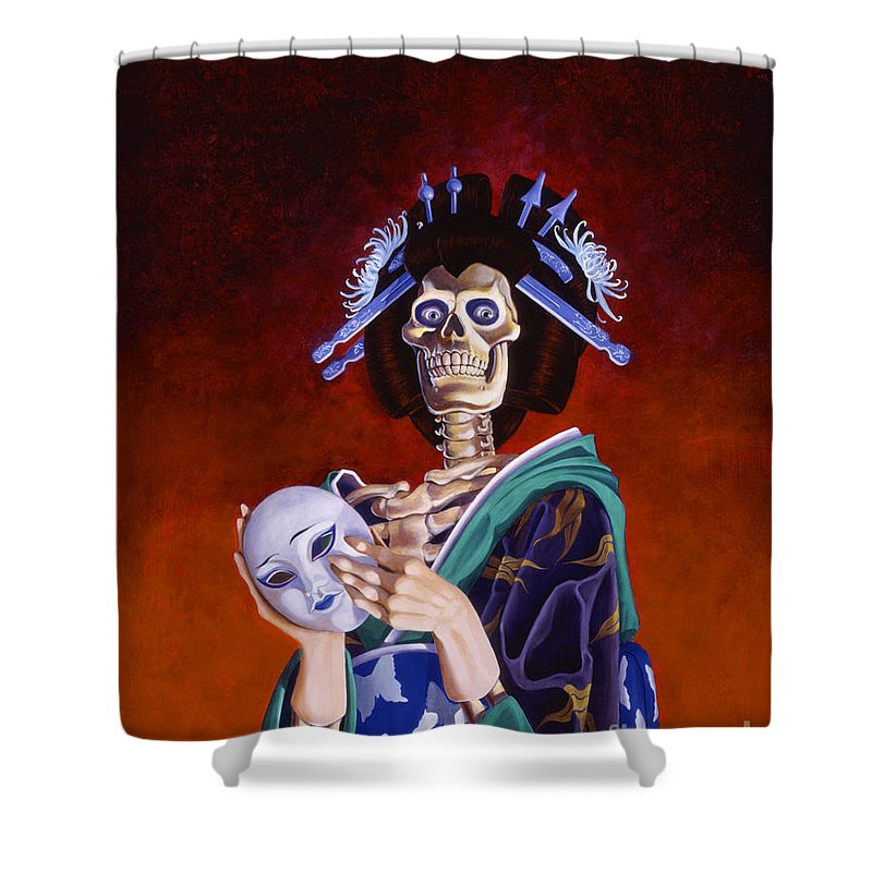 Skeleton Shower Curtain featuring the painting Skeletal Geisha With Mask by Melissa A Benson