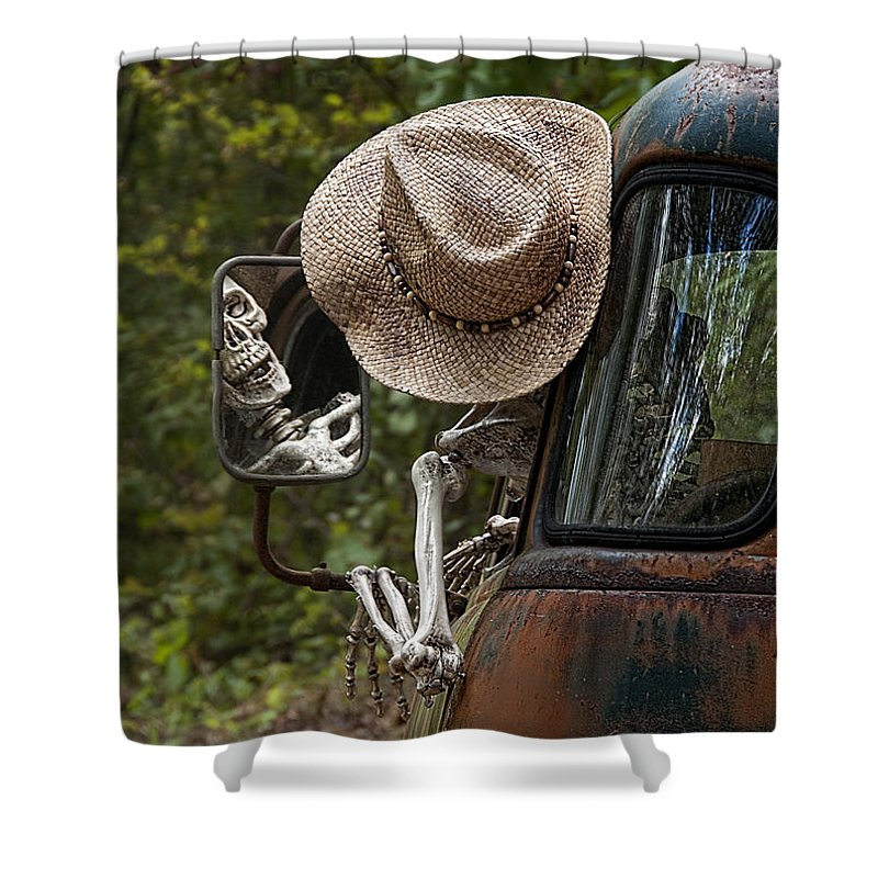 Skeleton Shower Curtain featuring the photograph Skeleton Crew - Skeleton Driving A Vintage Truck by Mitch Spence