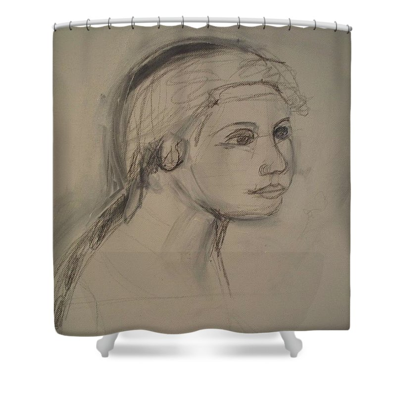 Sketch Shower Curtain featuring the painting Sketch For Painting by Eric Schiabor