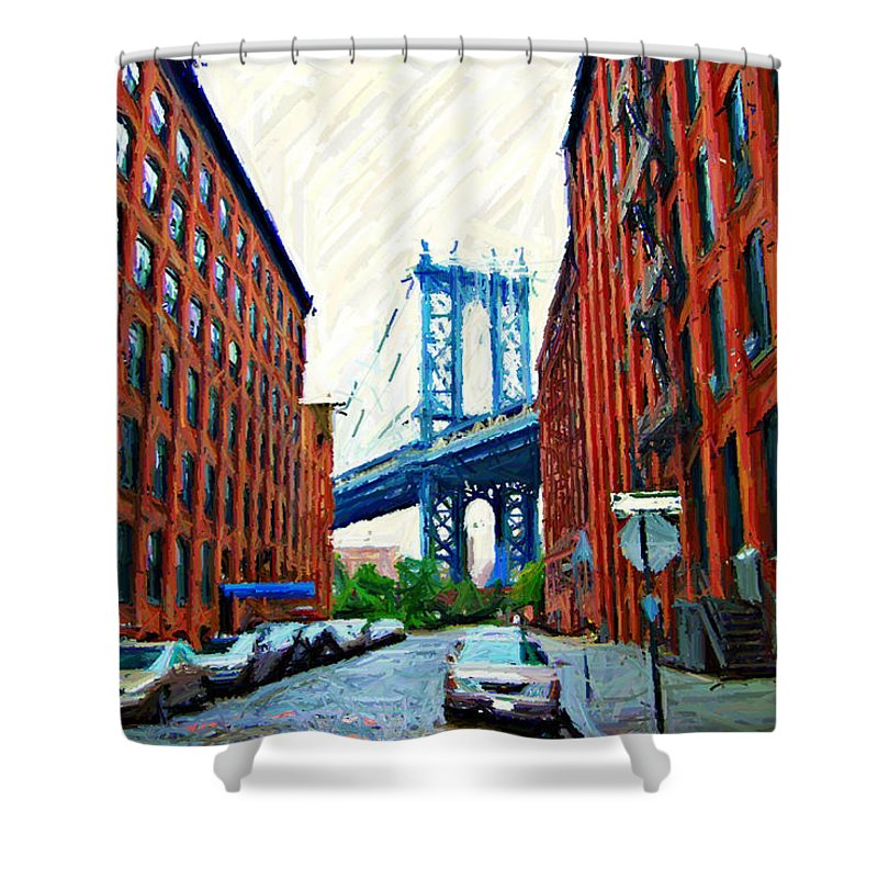 Brooklyn Shower Curtain featuring the photograph Sketch Of Dumbo Neighborhood In Brooklyn by Randy Aveille