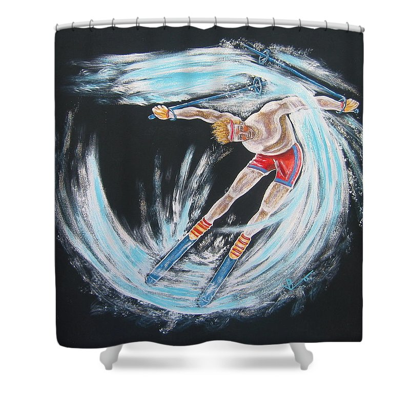Abstract Sports Shower Curtain featuring the painting Ski Bum by V Boge