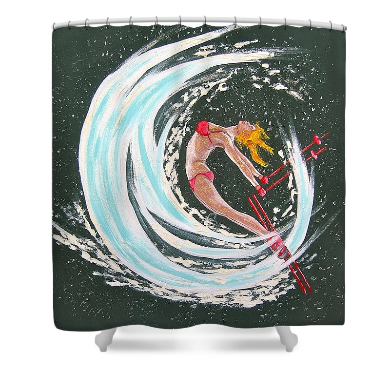Abstract Sports Shower Curtain featuring the painting Ski Bunny by V Boge