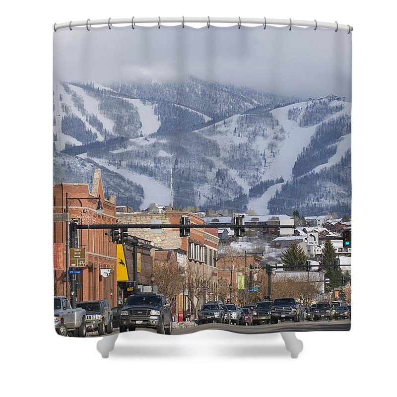 Ski Resorts Shower Curtain featuring the photograph Ski Resort And Downtown Steamboat by Rich Reid