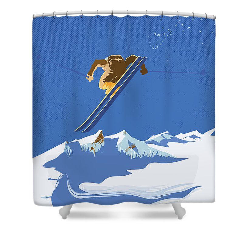 Ski Shower Curtain featuring the painting Sky Skier by Sassan Filsoof