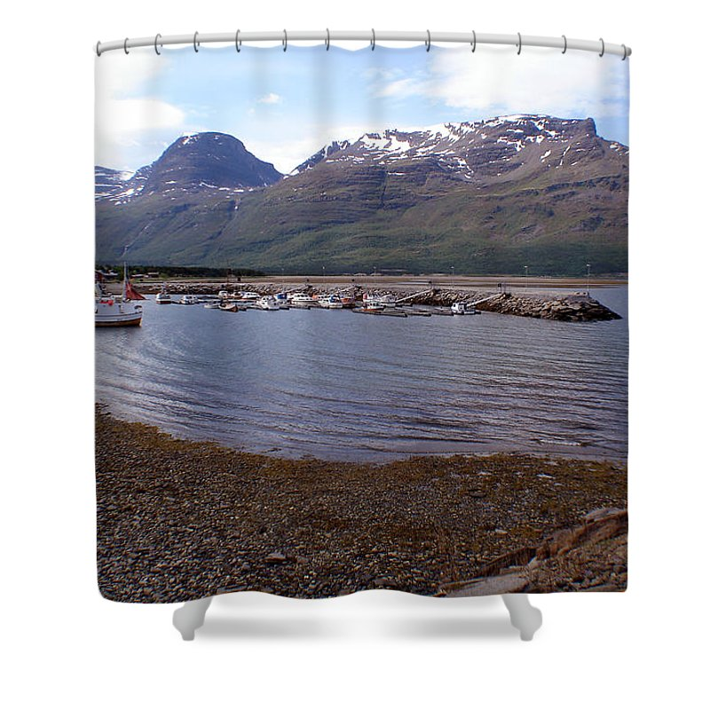 Skibotn Shower Curtain featuring the photograph Skibotn Harbor Norway by Merja Waters